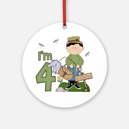 Lil Fisherman 4th Birthday Ornament (Round)