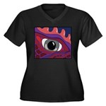 CREATURE VIEW #4 Women's Plus Size V-Neck Dark T-S