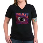 CREATURE VIEW #4 Women's V-Neck Dark T-Shirt