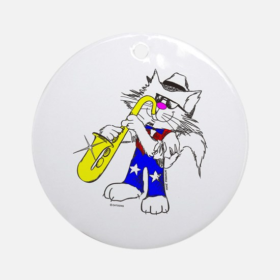 Saxophone Cat Ornament (Round)