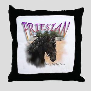 Half Fast Farms Friesian Throw Pillow