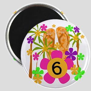 Luau 6th Birthday Magnet