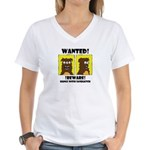 WANTED POSTER #2 Women's V-Neck T-Shirt