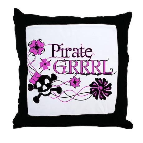 Pirate Grrrl Throw Pillow