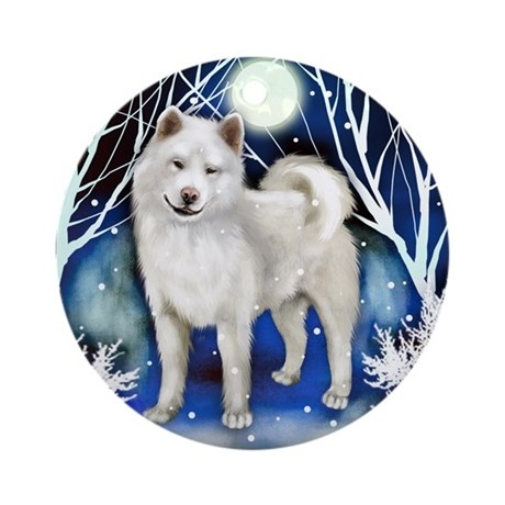 AKITA DOG WINTER NIGHT Ornament (Round)