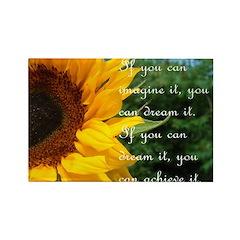 Imagine Dream Achieve Flower Rectangle Magnet (100