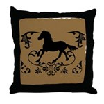 Fancy Horse Silhouette Throw Pillow