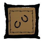 Horse Shoe and Barbed Wire Throw Pillow