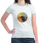 XmasMusic3/Horse (Ar-blk) Jr. Ringer T-Shirt