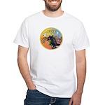XmasMusic3/Horse (Ar-blk) White T-Shirt