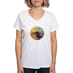 XmasMusic3/Horse (Ar-blk) Women's V-Neck T-Shirt