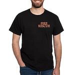 """Fire Rescue"" on pocket Black T-Shirt"
