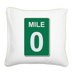 Mile Marker Zero Square Canvas Pillow