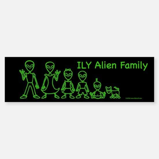 ILYAlienFamilyText Black Bumper Bumper Bumper Sticker