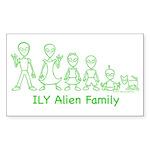 ILYAlienFamilyText Rectangle Sticker 10 pk)