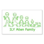 ILYAlienFamilyText Rectangle Sticker 50 pk)