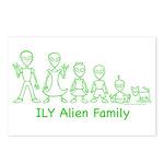 ILYAlienFamilyText Postcards (Package of 8)