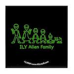 ILYAlienFamilyText Black Tile Coaster