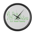 ILYAlienFamilyText Large Wall Clock