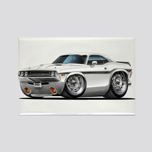 Challenger White Car Rectangle Magnet