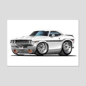 Challenger White Car Mini Poster Print