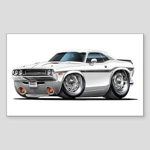 Challenger White Car Rectangle Sticker