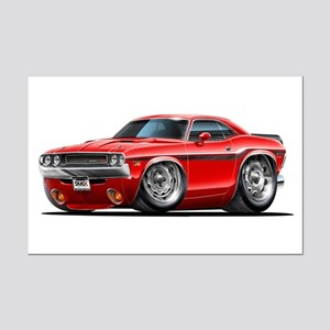 Challenger Red Car Mini Poster Print