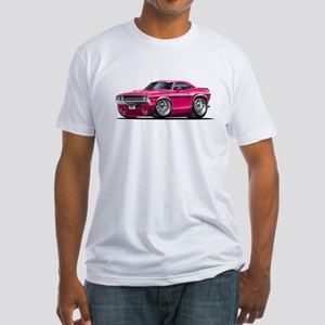 Challenger Pink Car Fitted T-Shirt