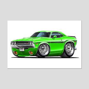 Challenger Green Car Mini Poster Print