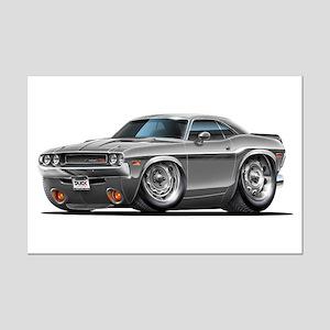 Challenger Silver Car Mini Poster Print