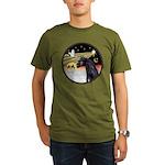 XmasDove/Horse (Ar-blk) Organic Men's T-Shirt (dar