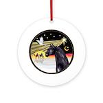 XmasDove/Horse (Ar-blk) Ornament (Round)