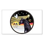 XmasDove/Horse (Ar-blk) Rectangle Sticker