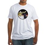 XmasDove/Horse (Ar-blk) Fitted T-Shirt