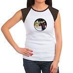 XmasDove/Horse (Ar-blk) Women's Cap Sleeve T-Shirt