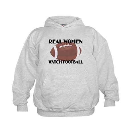 REAL WOMEN WATCH FOOTBALL (1) Kids Hoodie