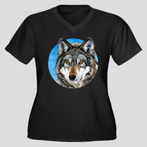 Painted Wolf Women's Plus Size V-Neck Dark T-Shirt