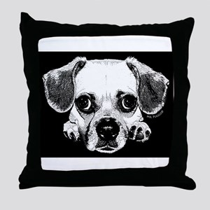 Black & Black Puggle Throw Pillow