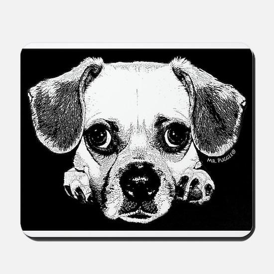 Black & Black Puggle Mousepad