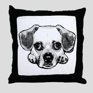 Black & White Puggle Throw Pillow