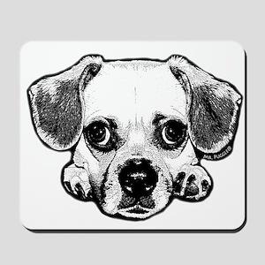 Black & White Puggle Mousepad