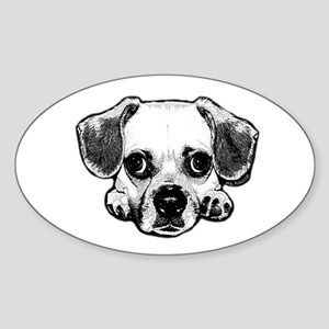 Black & White Puggle Oval Sticker