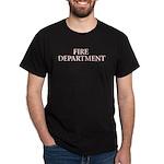 White & Red letter Fire Department Black T-Shirt