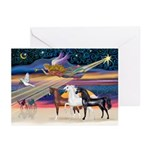 XmsStar/3 Horses (Ar) Greeting Cards (Pk of 10)