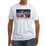 XmsStar/3 Horses (Ar) Fitted T-Shirt