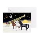 XmsDove/3 Horses (Ar) Greeting Cards (Pk of 10)
