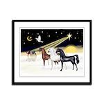 XmsDove/3 Horses (Ar) Framed Panel Print