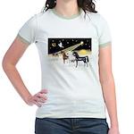 XmsDove/3 Horses (Ar) Jr. Ringer T-Shirt
