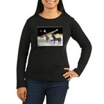 XmsDove/3 Horses (Ar) Women's Long Sleeve Dark T-S