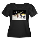 XmsDove/3 Horses (Ar) Women's Plus Size Scoop Neck